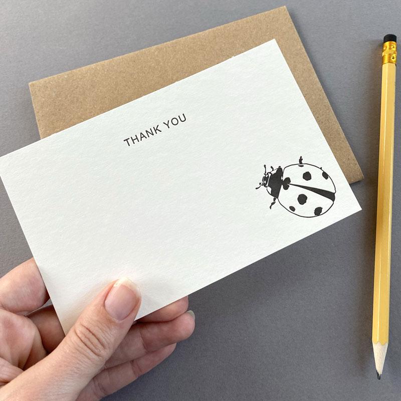 Ladybird thank you correspondence cards